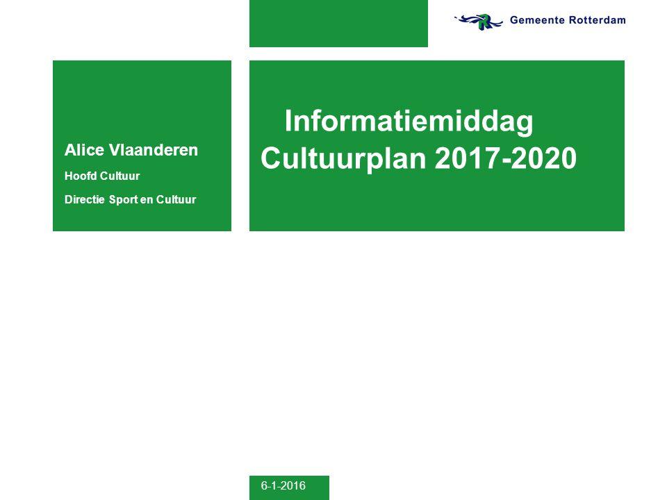 6-1-2016 Informatiemiddag Cultuurplan 2017-2020 Alice Vlaanderen Hoofd Cultuur Directie Sport en Cultuur