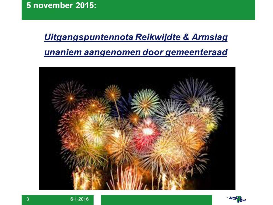 5 november 2015: Uitgangspuntennota Reikwijdte & Armslag unaniem aangenomen door gemeenteraad 6-1-2016 3