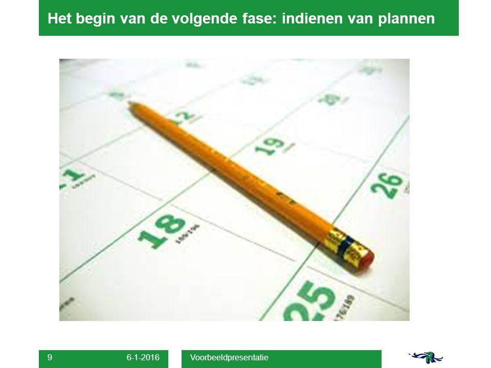 Het begin van de volgende fase: indienen van plannen 6-1-2016 Voorbeeldpresentatie 9