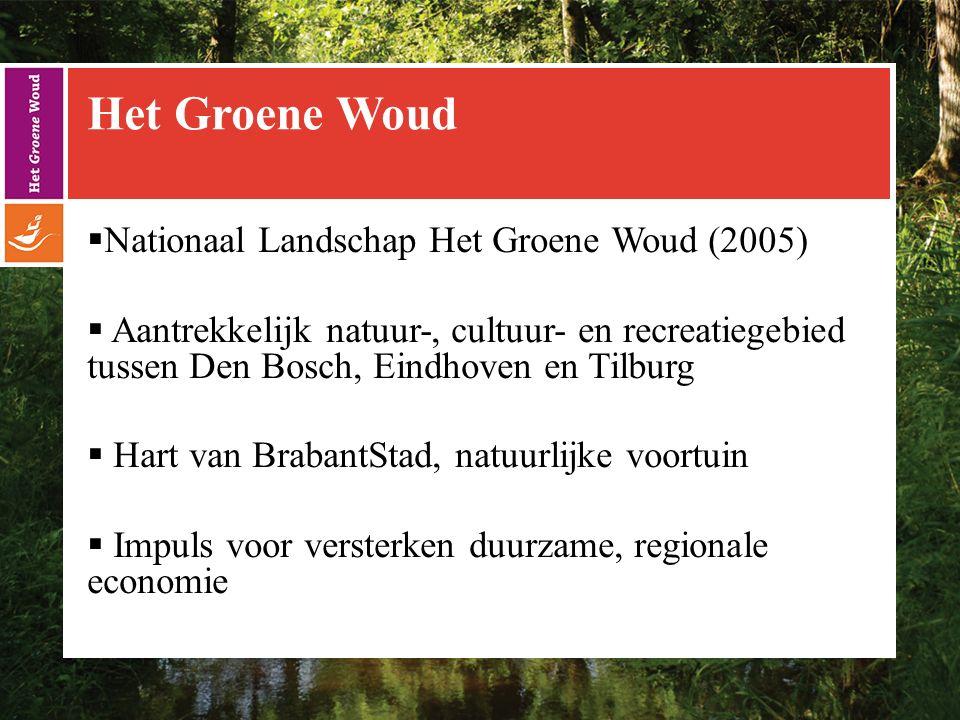 Het Groene Woud  Nationaal Landschap Het Groene Woud (2005)  Aantrekkelijk natuur-, cultuur- en recreatiegebied tussen Den Bosch, Eindhoven en Tilburg  Hart van BrabantStad, natuurlijke voortuin  Impuls voor versterken duurzame, regionale economie