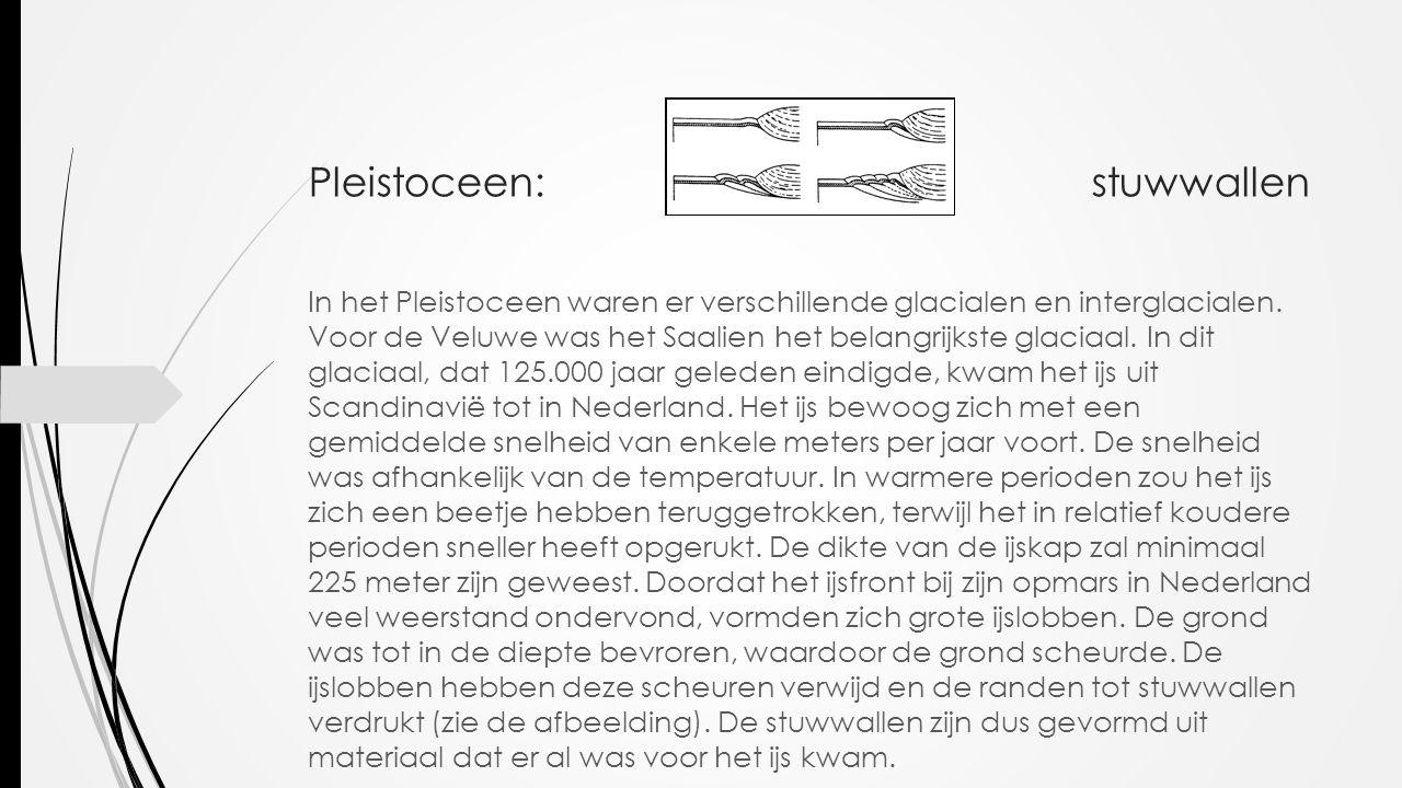 Pleistoceen: stuwwallen In het Pleistoceen waren er verschillende glacialen en interglacialen. Voor de Veluwe was het Saalien het belangrijkste glacia