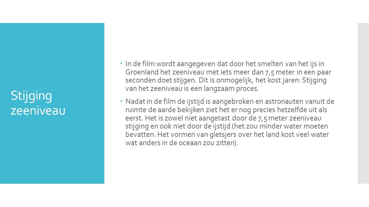 Stijging zeeniveau  In de film wordt aangegeven dat door het smelten van het ijs in Groenland het zeeniveau met iets meer dan 7,5 meter in een paar seconden doet stijgen.