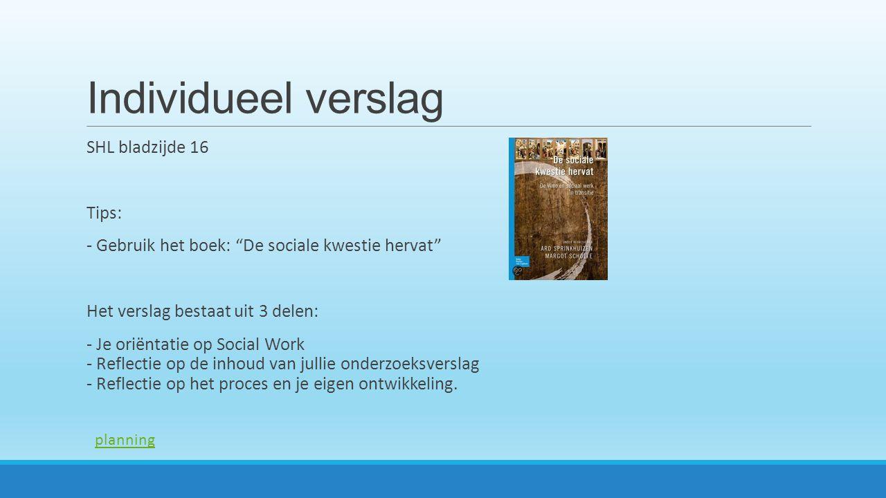 Individueel verslag SHL bladzijde 16 Tips: - Gebruik het boek: De sociale kwestie hervat Het verslag bestaat uit 3 delen: - Je oriëntatie op Social Work - Reflectie op de inhoud van jullie onderzoeksverslag - Reflectie op het proces en je eigen ontwikkeling.