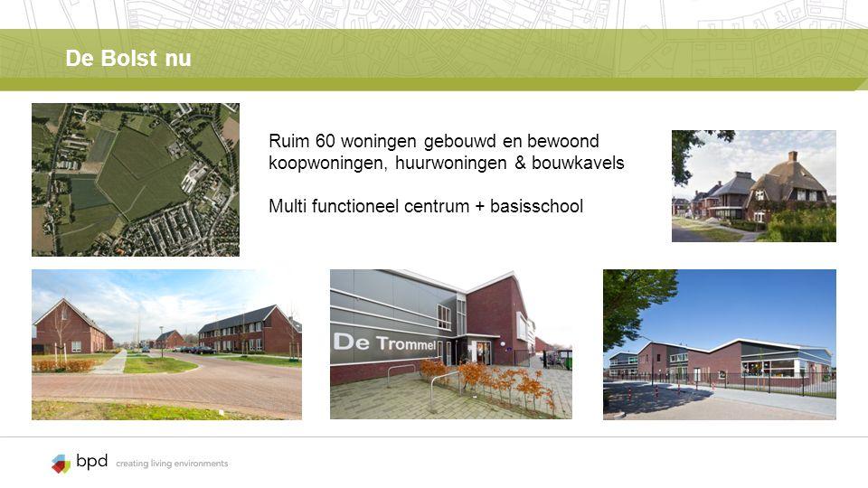 De Bolst nu Ruim 60 woningen gebouwd en bewoond koopwoningen, huurwoningen & bouwkavels Multi functioneel centrum + basisschool