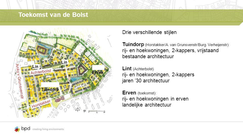 Toekomst van de Bolst Drie verschillende stijlen Tuindorp (Horstakker/A.