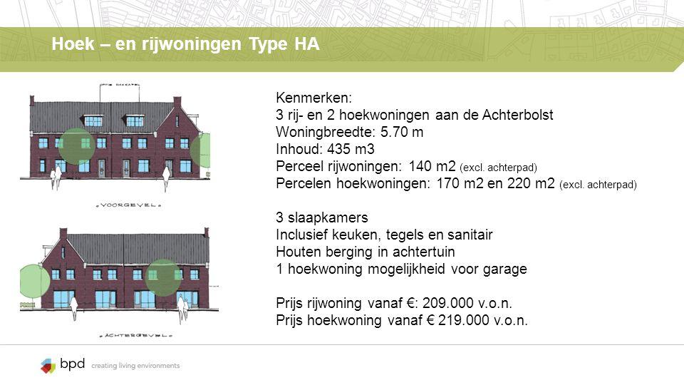 Hoek – en rijwoningen Type HA Kenmerken: 3 rij- en 2 hoekwoningen aan de Achterbolst Woningbreedte: 5.70 m Inhoud: 435 m3 Perceel rijwoningen: 140 m2 (excl.