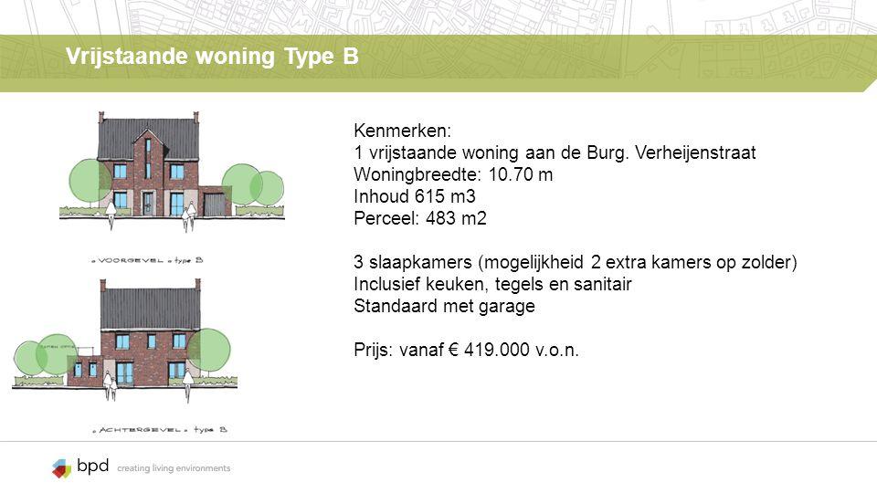Vrijstaande woning Type B Kenmerken: 1 vrijstaande woning aan de Burg.