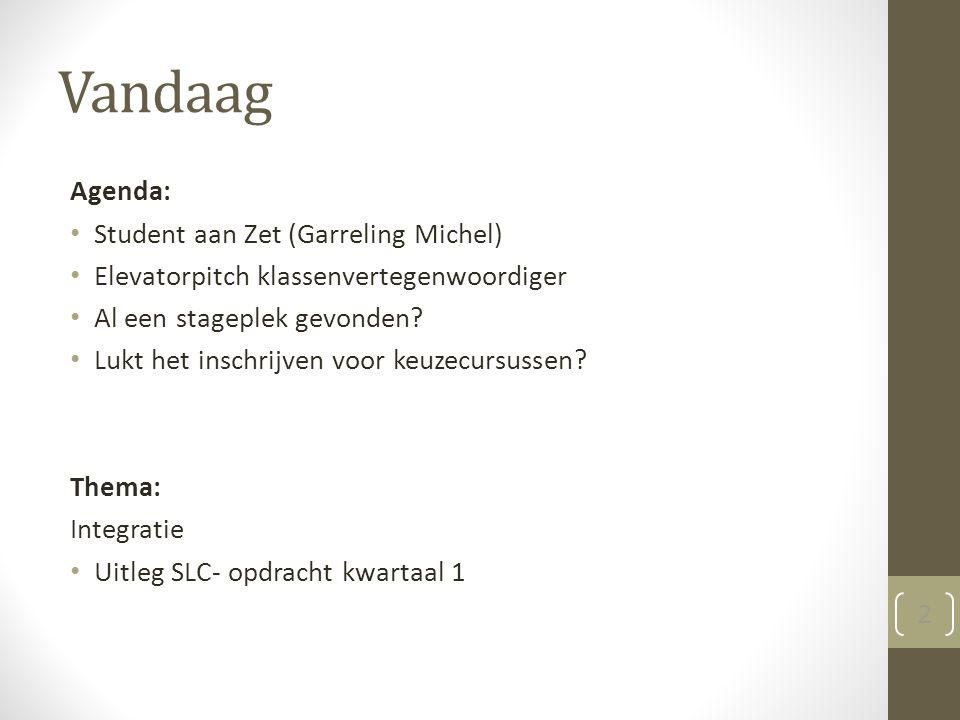Vandaag Agenda: Student aan Zet (Garreling Michel) Elevatorpitch klassenvertegenwoordiger Al een stageplek gevonden.