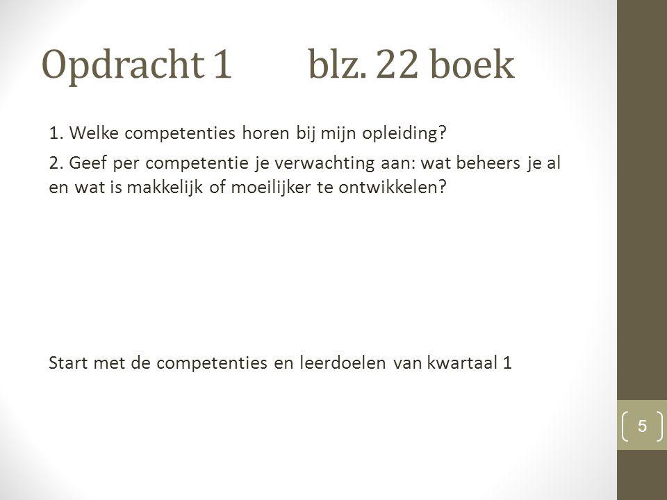 Opdracht 1blz. 22 boek 1. Welke competenties horen bij mijn opleiding.
