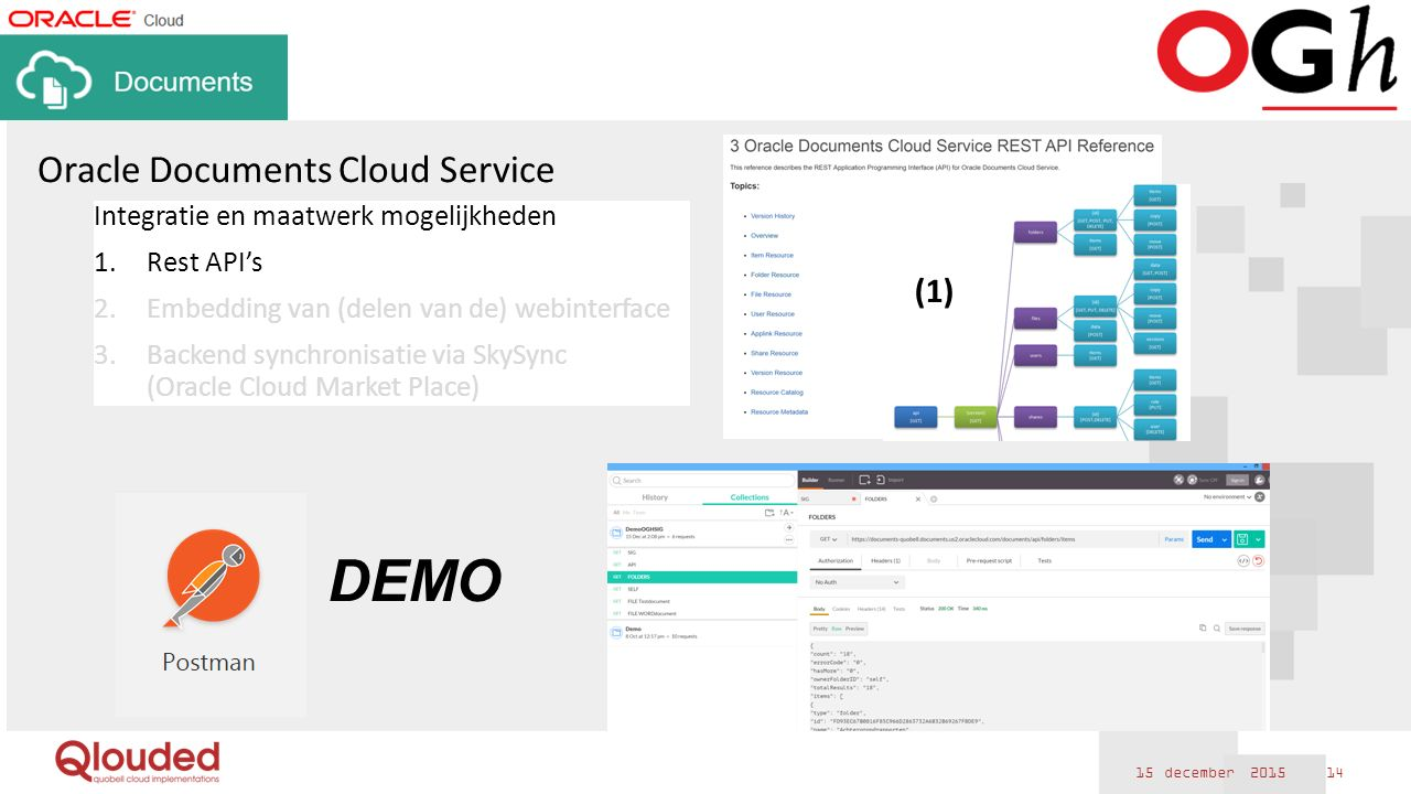 15 december 2015 14 Oracle Documents Cloud Service Integratie en maatwerk mogelijkheden 1.Rest API's 2.Embedding van (delen van de) webinterface 3.Backend synchronisatie via SkySync (Oracle Cloud Market Place) (1) DEMO