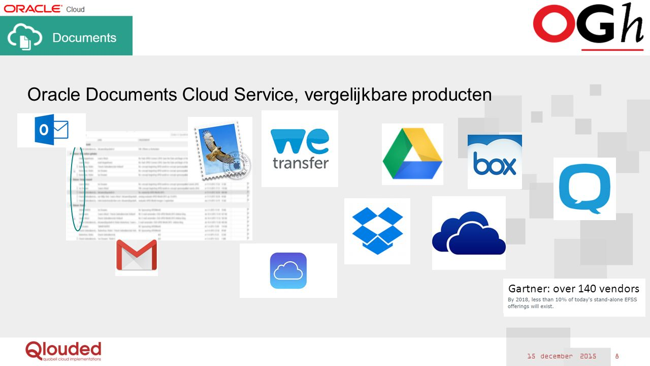 15 december 2015 8 Oracle Documents Cloud Service, vergelijkbare producten Gartner: over 140 vendors