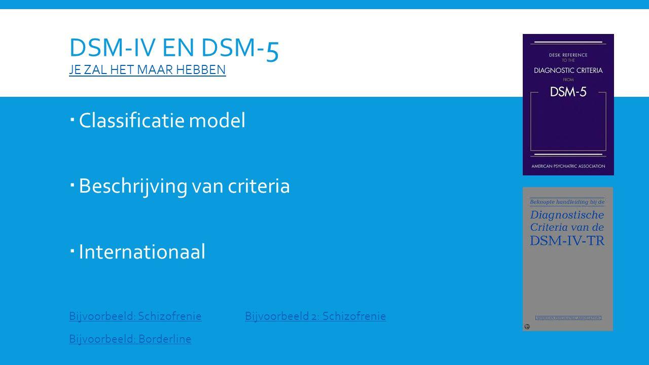 DSM-IV EN DSM- 5 JE ZAL HET MAAR HEBBEN JE ZAL HET MAAR HEBBEN  Classificatie model  Beschrijving van criteria  Internationaal Bijvoorbeeld: Schizofrenie Bijvoorbeeld: Borderline Bijvoorbeeld 2: Schizofrenie