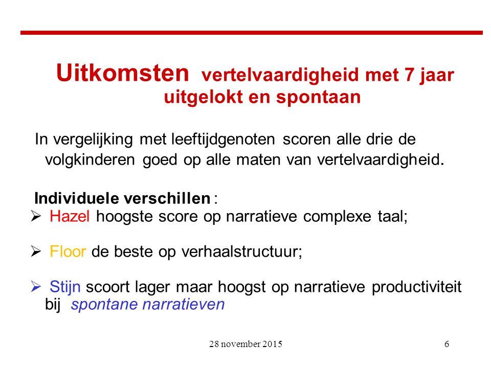 17 Bronnen en méér weten: De Blauw, Akke (2015)Precursors of narrative ability; an indepth study of three Dutch children.