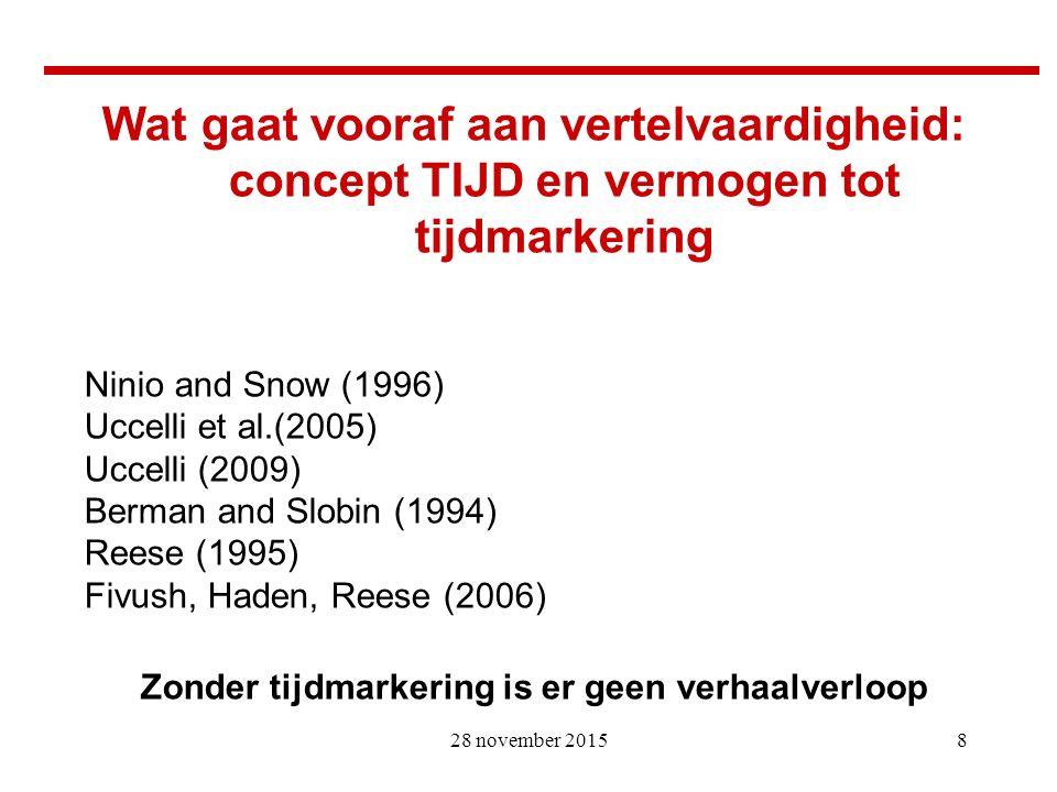 8 Wat gaat vooraf aan vertelvaardigheid: concept TIJD en vermogen tot tijdmarkering Ninio and Snow (1996) Uccelli et al.(2005) Uccelli (2009) Berman a