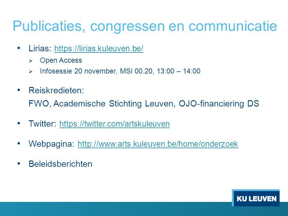 Publicaties, congressen en communicatie Lirias: https://lirias.kuleuven.be/ https://lirias.kuleuven.be/  Open Access  Infosessie 20 november, MSI 00.20, 13:00 – 14:00 Reiskredieten: FWO, Academische Stichting Leuven, OJO-financiering DS Twitter: https://twitter.com/artskuleuven https://twitter.com/artskuleuven Webpagina: http://www.arts.kuleuven.be/home/onderzoek http://www.arts.kuleuven.be/home/onderzoek Beleidsberichten