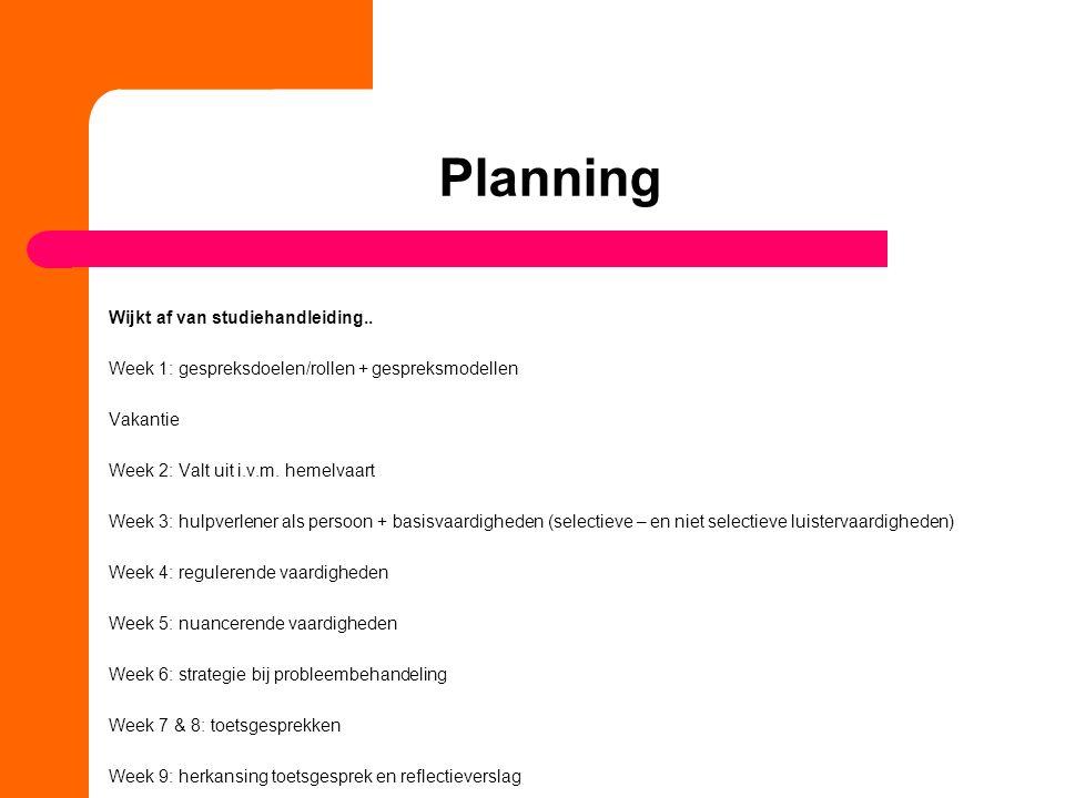 Planning Wijkt af van studiehandleiding.. Week 1: gespreksdoelen/rollen + gespreksmodellen Vakantie Week 2: Valt uit i.v.m. hemelvaart Week 3: hulpver