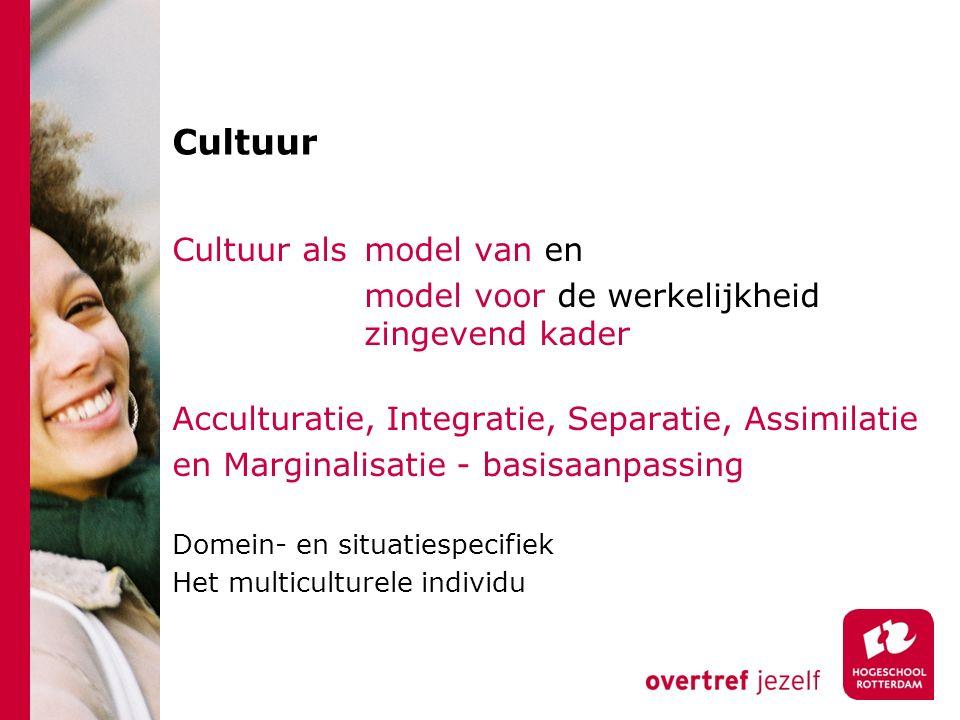 Cultuur Cultuur als model van en model voor de werkelijkheid zingevend kader Acculturatie, Integratie, Separatie, Assimilatie en Marginalisatie - basi