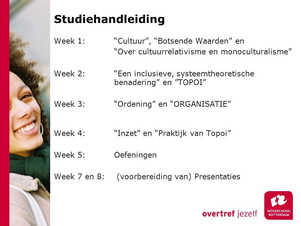 """Studiehandleiding Week 1: """"Cultuur"""", """"Botsende Waarden"""" en """"Over cultuurrelativisme en monoculturalisme"""" Week 2: """"Een inclusieve, systeemtheoretische"""