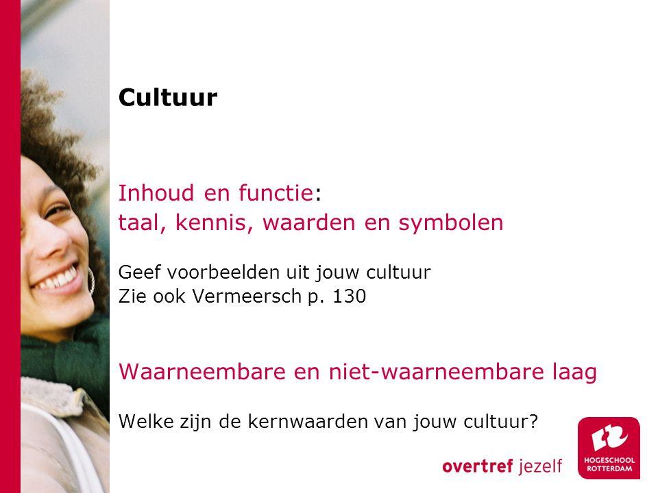 Cultuur Inhoud en functie: taal, kennis, waarden en symbolen Geef voorbeelden uit jouw cultuur Zie ook Vermeersch p. 130 Waarneembare en niet-waarneem