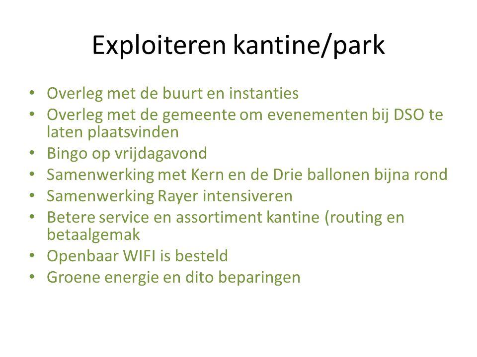 Exploiteren kantine/park Overleg met de buurt en instanties Overleg met de gemeente om evenementen bij DSO te laten plaatsvinden Bingo op vrijdagavond