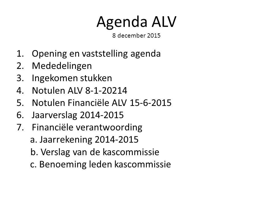 Agenda ALV 8 december 2015 1.Opening en vaststelling agenda 2.Mededelingen 3.Ingekomen stukken 4.Notulen ALV 8-1-20214 5.Notulen Financiële ALV 15-6-2