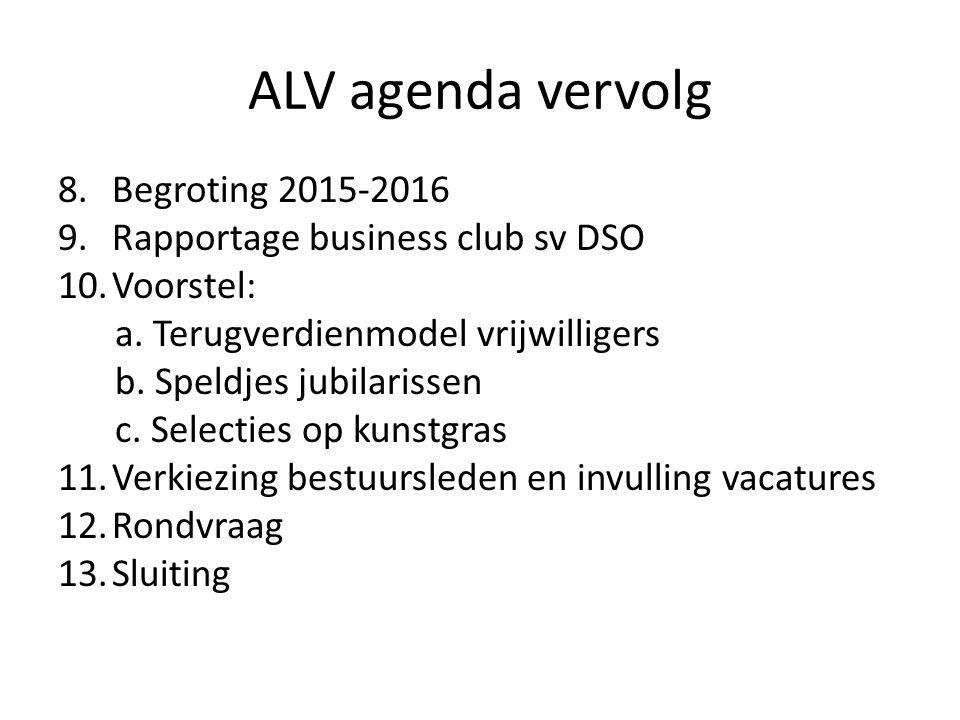 ALV agenda vervolg 8.Begroting 2015-2016 9.Rapportage business club sv DSO 10.Voorstel: a. Terugverdienmodel vrijwilligers b. Speldjes jubilarissen c.