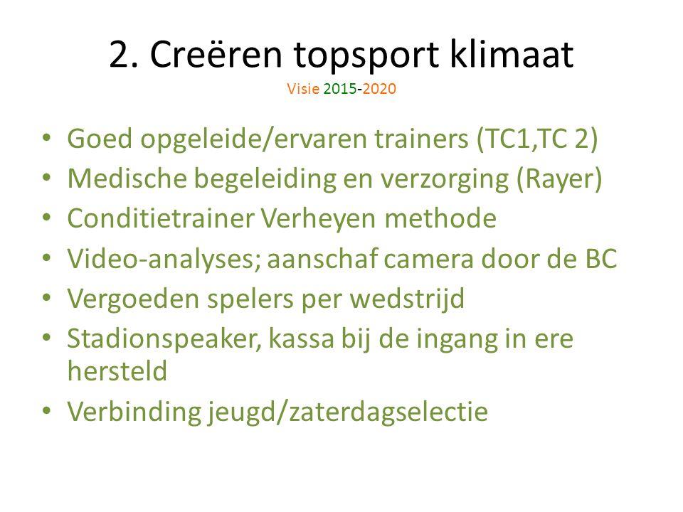 2. Creëren topsport klimaat Visie 2015-2020 Goed opgeleide/ervaren trainers (TC1,TC 2) Medische begeleiding en verzorging (Rayer) Conditietrainer Verh