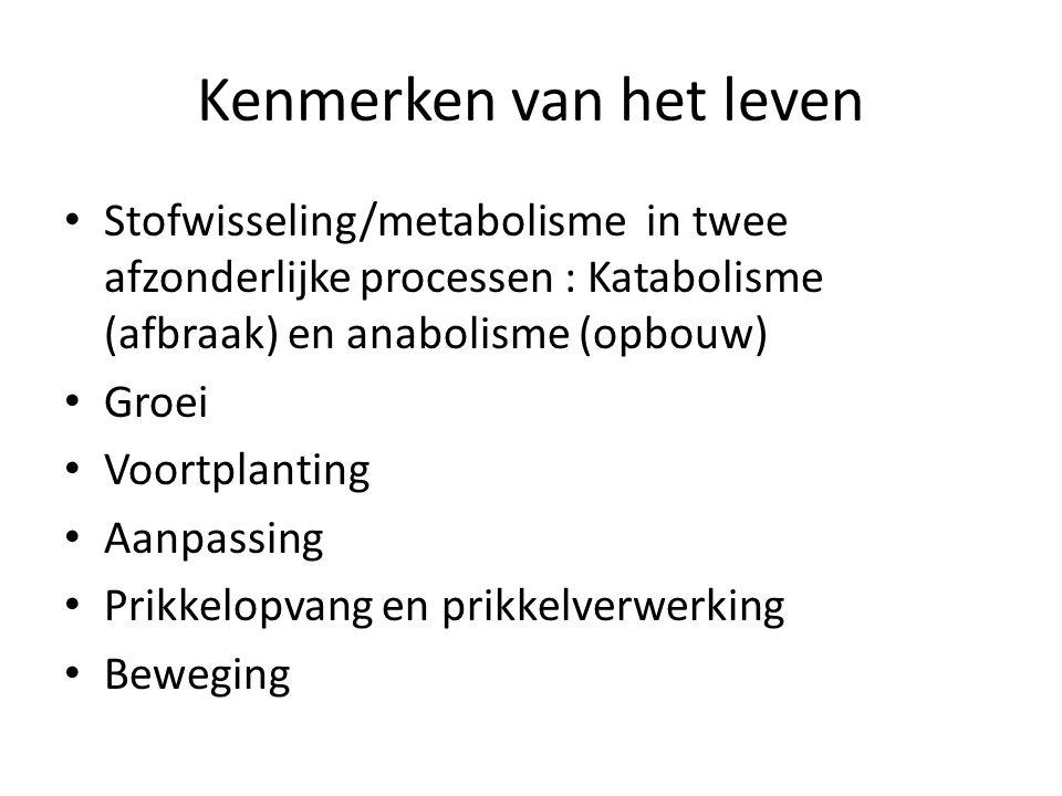 Kenmerken van het leven Stofwisseling/metabolisme in twee afzonderlijke processen : Katabolisme (afbraak) en anabolisme (opbouw) Groei Voortplanting Aanpassing Prikkelopvang en prikkelverwerking Beweging