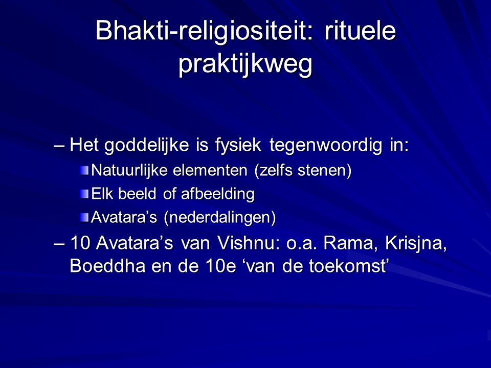 Bhakti-religiositeit: rituele praktijkweg –Het goddelijke is fysiek tegenwoordig in: Natuurlijke elementen (zelfs stenen) Elk beeld of afbeelding Avat