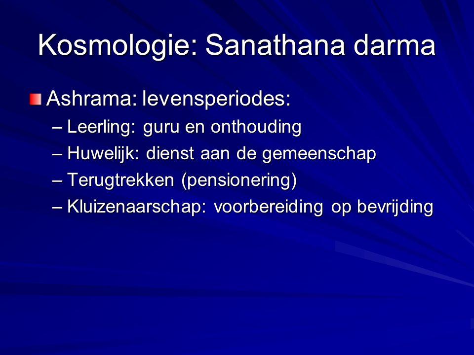 Kosmologie: Sanathana darma Ashrama: levensperiodes: –Leerling: guru en onthouding –Huwelijk: dienst aan de gemeenschap –Terugtrekken (pensionering) –