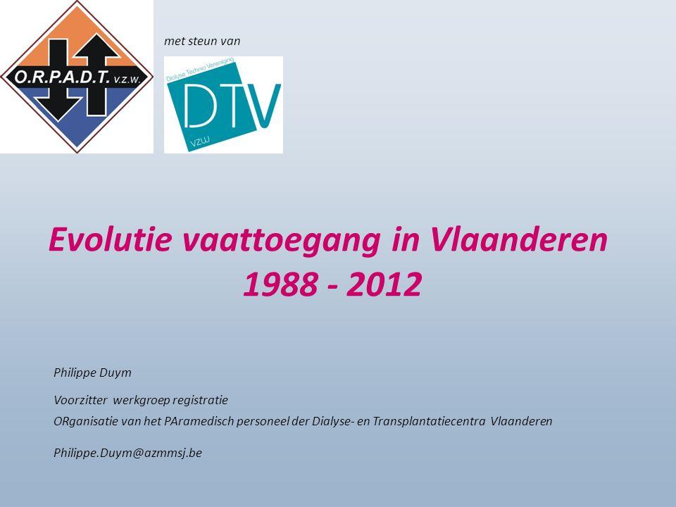Evolutie vaattoegang in Vlaanderen 1988 - 2012 Philippe Duym Voorzitter werkgroep registratie ORganisatie van het PAramedisch personeel der Dialyse- en Transplantatiecentra Vlaanderen Philippe.Duym@azmmsj.be met steun van