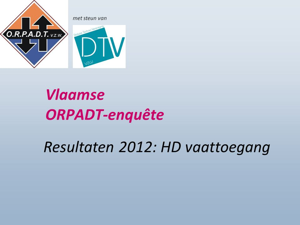 Enquête 2012 Vlaamse ORPADT-enquête Resultaten 2012: HD vaattoegang met steun van