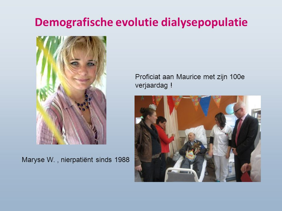 Demografische evolutie dialysepopulatie Maryse W., nierpatiënt sinds 1988 Proficiat aan Maurice met zijn 100e verjaardag !