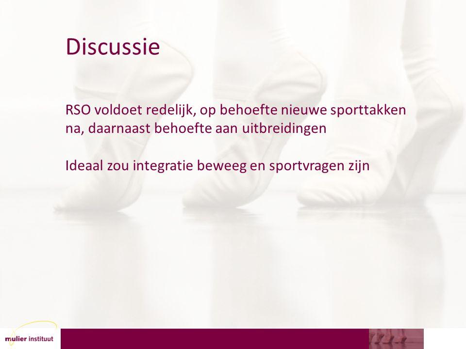 Discussie RSO voldoet redelijk, op behoefte nieuwe sporttakken na, daarnaast behoefte aan uitbreidingen Ideaal zou integratie beweeg en sportvragen zijn