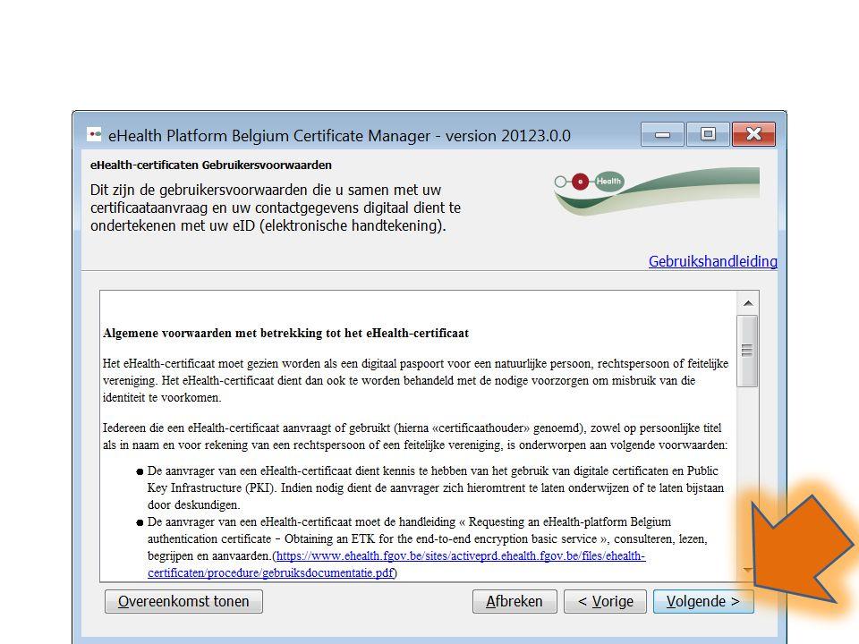 In het venster Plaats uw Belgische eID-kaart in de eID-kaartlezer , klik op Volgende
