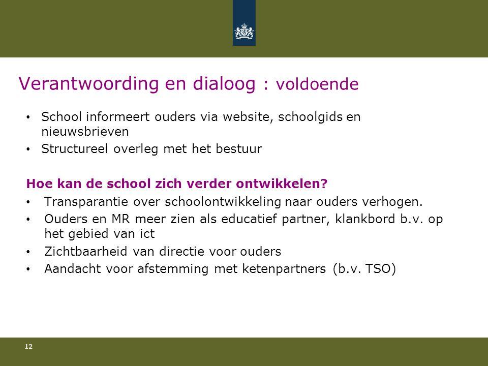 Verantwoording en dialoog : voldoende School informeert ouders via website, schoolgids en nieuwsbrieven Structureel overleg met het bestuur Hoe kan de school zich verder ontwikkelen.