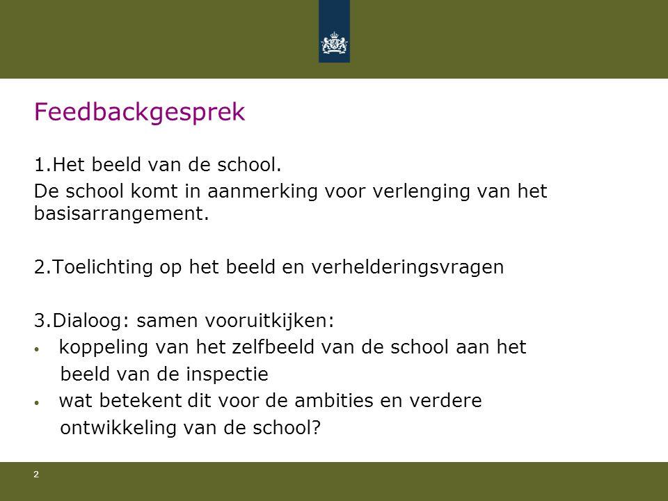 Feedbackgesprek 1.Het beeld van de school. De school komt in aanmerking voor verlenging van het basisarrangement. 2.Toelichting op het beeld en verhel