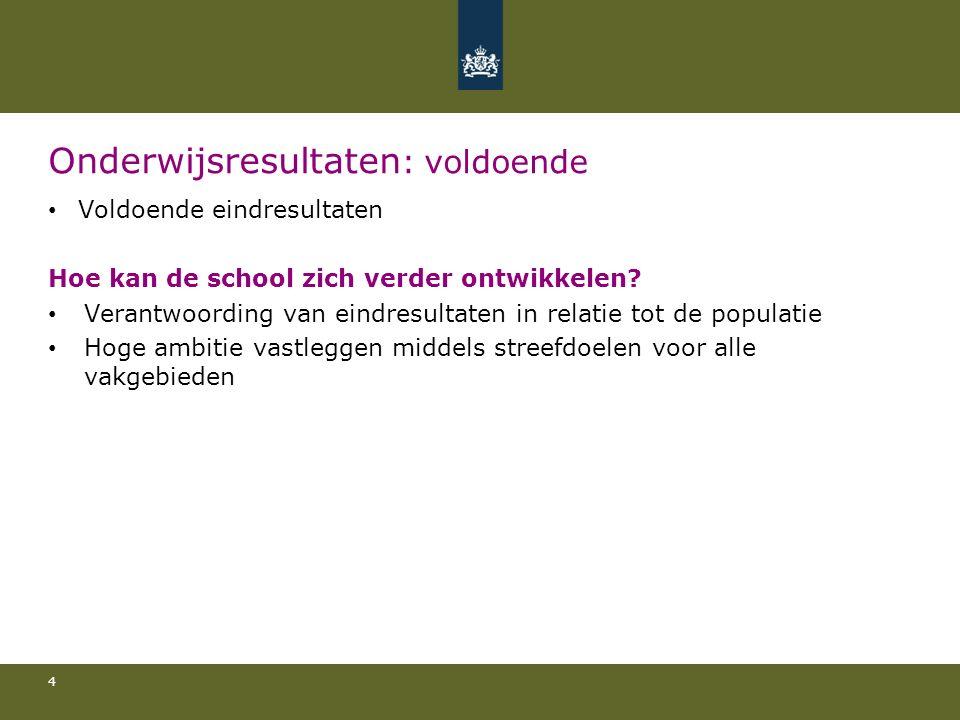 Onderwijsresultaten : voldoende Voldoende eindresultaten Hoe kan de school zich verder ontwikkelen.