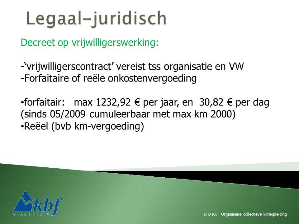 Ir B RK - Organisatie collectieve klimopleiding Decreet op vrijwilligerswerking: -'vrijwilligerscontract' vereist tss organisatie en VW -Forfaitaire of reële onkostenvergoeding forfaitair: max 1232,92 € per jaar, en 30,82 € per dag (sinds 05/2009 cumuleerbaar met max km 2000) Reëel (bvb km-vergoeding)