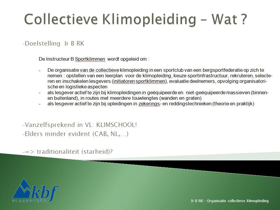 - Doelstelling Ir B RK - Vanzelfsprekend in VL: KLIMSCHOOL! - Elders minder evident (CAB, NL,…) - => traditionaliteit (starheid)? Ir B RK - Organisati