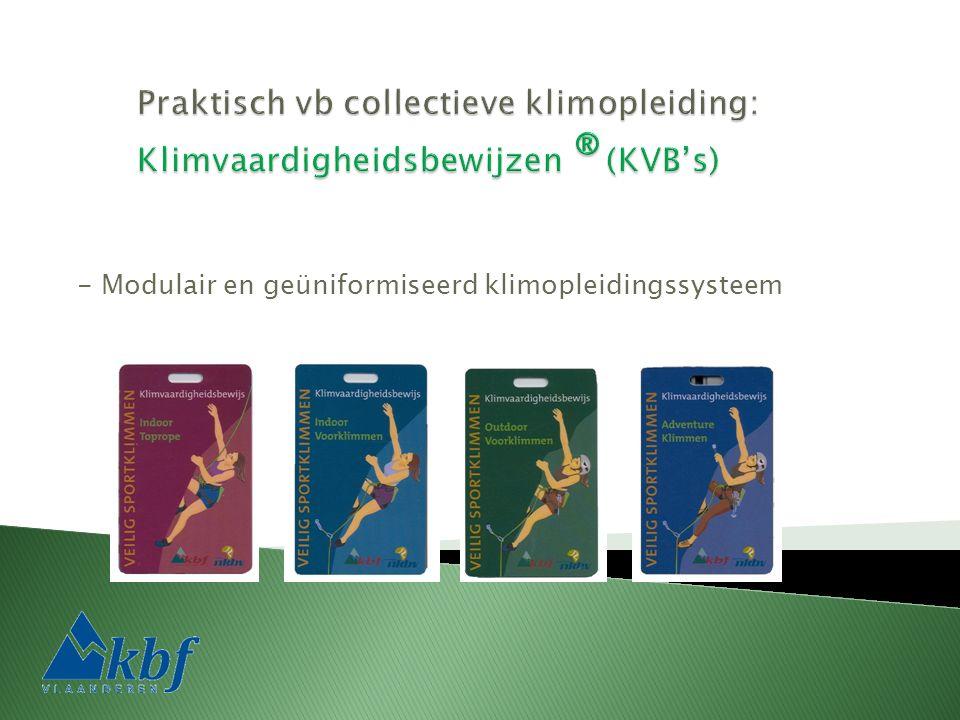 - Modulair en geüniformiseerd klimopleidingssysteem