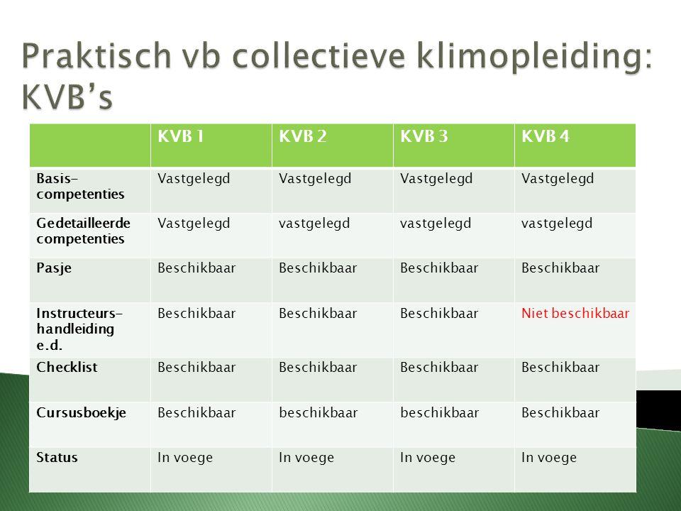 KVB 1KVB 2KVB 3KVB 4 Basis- competenties Vastgelegd Gedetailleerde competenties Vastgelegdvastgelegd PasjeBeschikbaar Instructeurs- handleiding e.d.