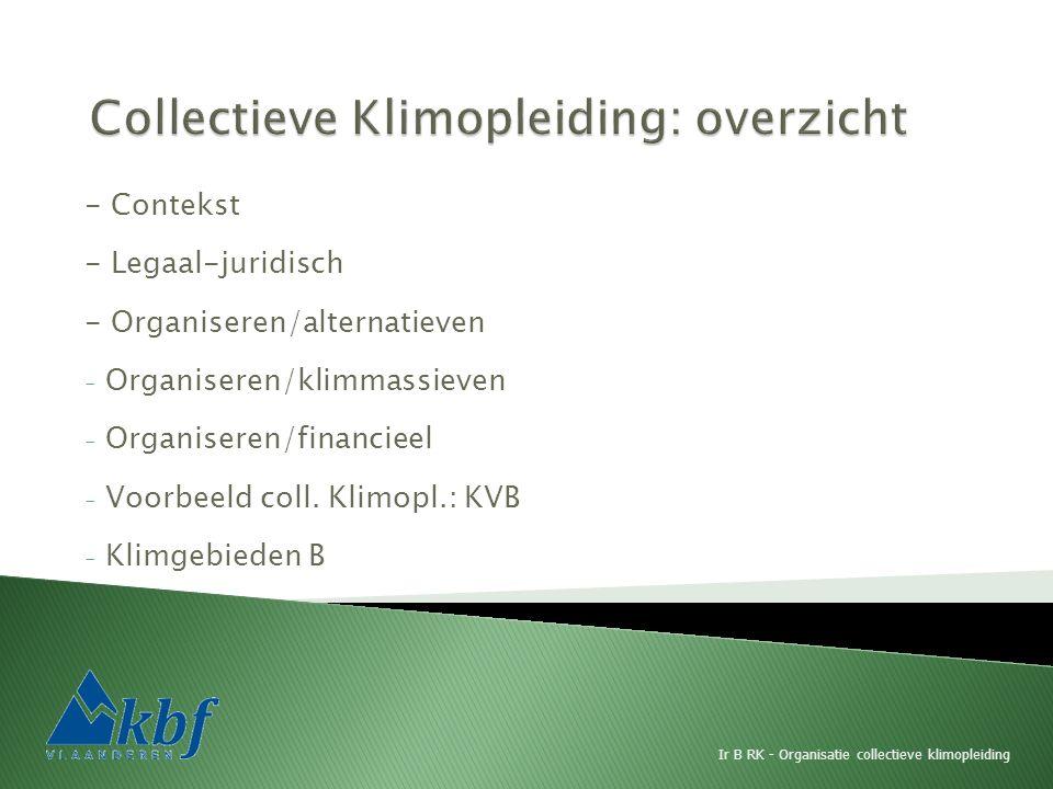 - Contekst - Legaal-juridisch - Organiseren/alternatieven - Organiseren/klimmassieven - Organiseren/financieel - Voorbeeld coll. Klimopl.: KVB - Klimg