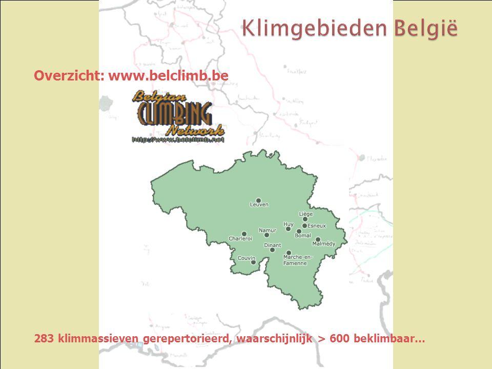 Overzicht: www.belclimb.be 283 klimmassieven gerepertorieerd, waarschijnlijk > 600 beklimbaar…