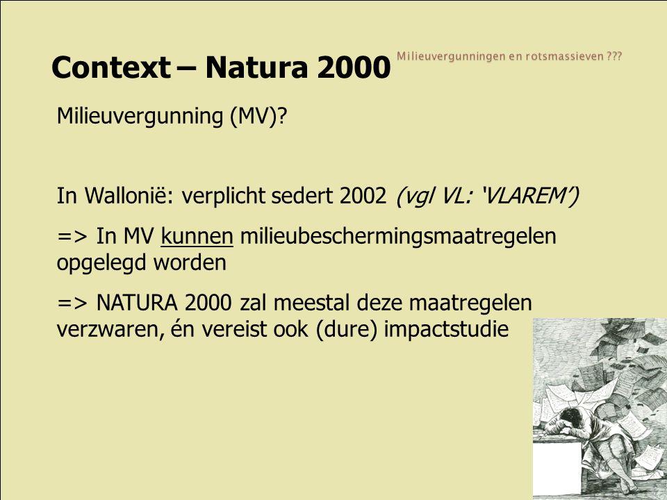 Context – Natura 2000 Milieuvergunning (MV)? In Wallonië: verplicht sedert 2002 (vgl VL: 'VLAREM') => In MV kunnen milieubeschermingsmaatregelen opgel