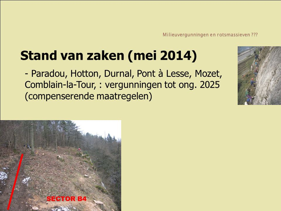 Stand van zaken (mei 2014) - Paradou, Hotton, Durnal, Pont à Lesse, Mozet, Comblain-la-Tour, : vergunningen tot ong. 2025 (compenserende maatregelen)