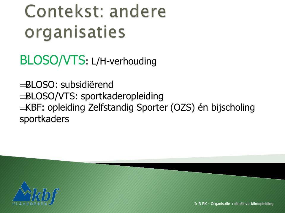 BLOSO/VTS : L/H-verhouding  BLOSO: subsidiërend  BLOSO/VTS: sportkaderopleiding  KBF: opleiding Zelfstandig Sporter (OZS) én bijscholing sportkaders