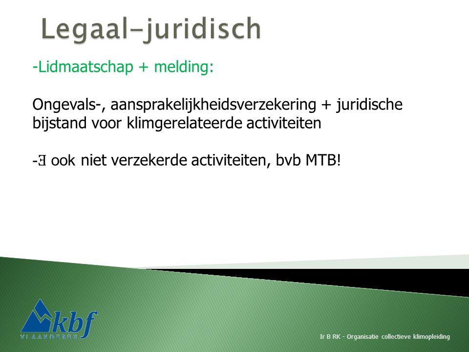 Ir B RK - Organisatie collectieve klimopleiding -Lidmaatschap + melding: Ongevals-, aansprakelijkheidsverzekering + juridische bijstand voor klimgerelateerde activiteiten - Ǝ ook niet verzekerde activiteiten, bvb MTB!