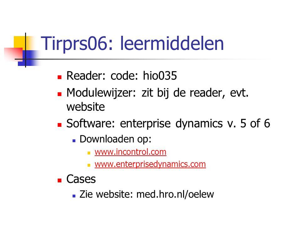 Tirprs06: leermiddelen Reader: code: hio035 Modulewijzer: zit bij de reader, evt. website Software: enterprise dynamics v. 5 of 6 Downloaden op: www.i