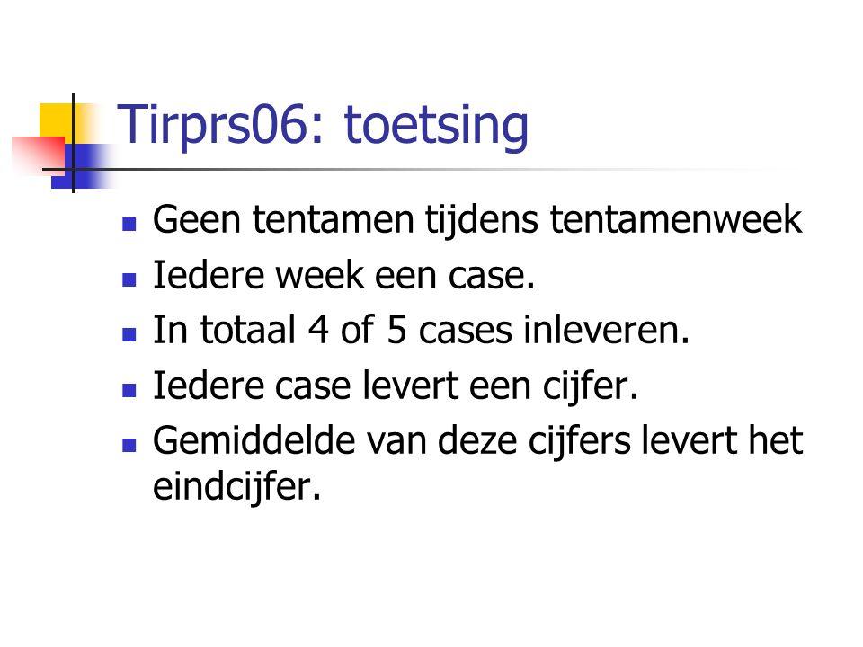 Tirprs06: toetsing Geen tentamen tijdens tentamenweek Iedere week een case. In totaal 4 of 5 cases inleveren. Iedere case levert een cijfer. Gemiddeld
